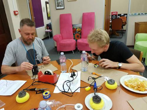 FM radio transmitter workshop, Free State Arts Festival team, Bloemfontein, South Africa, 2016